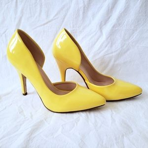 Delicious yellow cutout pointed toe pumps